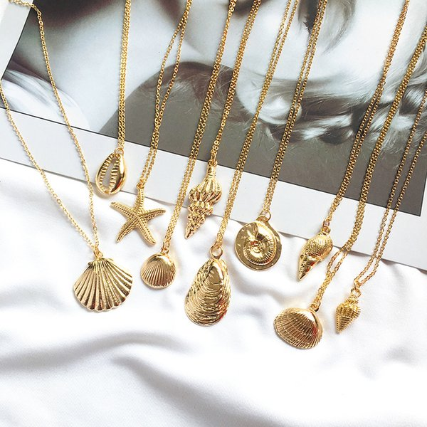 New Fashion Gold Boho Alloy Cowrie Shell Necklace for Women Men Conch Chain Pendant Necklace Summer Jewelry Starfish Collar