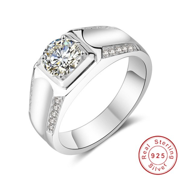 Original Jewelry Making 100% Real Solid Silver Rings Set Sona Diamond Engagement Wedding Rings for men boy gift szie 7-13