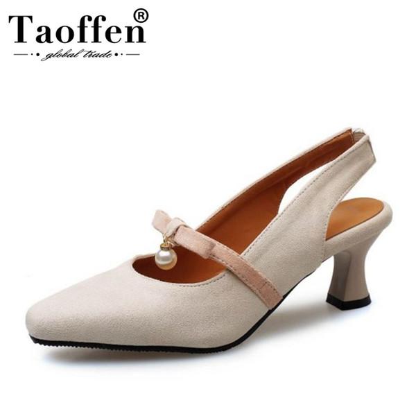 TAOFFEN Pequeno Plus Size 28-46 Mulheres Bombas Doce Bowknot Talão Sapatos de Salto Médio Mulher Ocasional Diário de Volta Cinta Mulheres Calçado