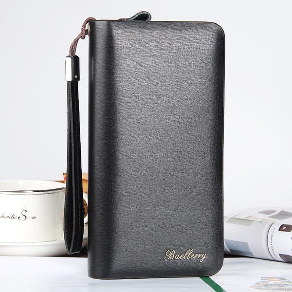 Erkek cüzdan yeni casual erkek debriyaj çanta uzun paragraf çok fonksiyonlu çift fermuar kaliteli cep telefonu çantası