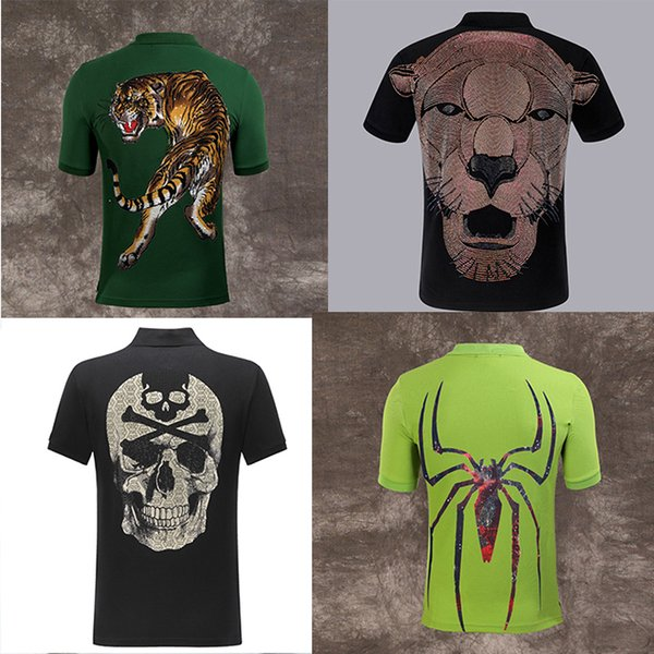 best selling HOT PP Polo shirts brand tiger Men fashion designer clothing short sleeve calssic skull luxury t-shirt High Quality Casual tee M-3XL