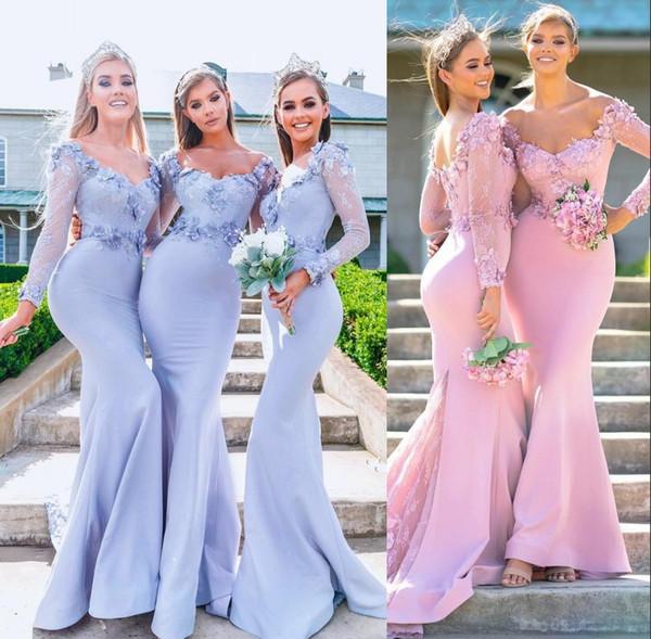 2019 Lilac Sheer Mangas Compridas Sereia Vestidos dama de honra baratos feitos à mão flor apliques de dama de honra vestidos vestidos de convidados de casamento rosa