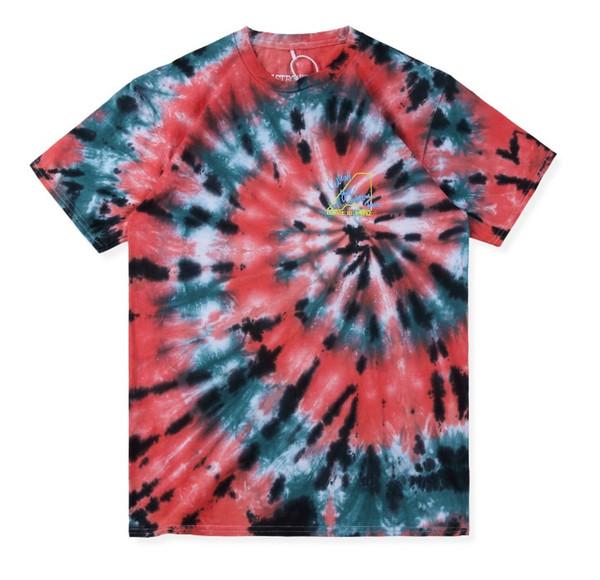 19SS NEW Travis Scott Astroworld Skeleton Tie Dye Short sleeve t shirts hip hop Men Women Summer Style Casual Cotton Tee