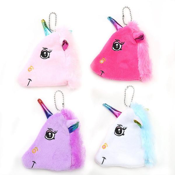 Ciondolo borsa zainetto unicorno creativo bambino borsa zainetto di moda bambino sveglio della ragazza della chiusura lampo della peluche della borsa di colore rosa viola