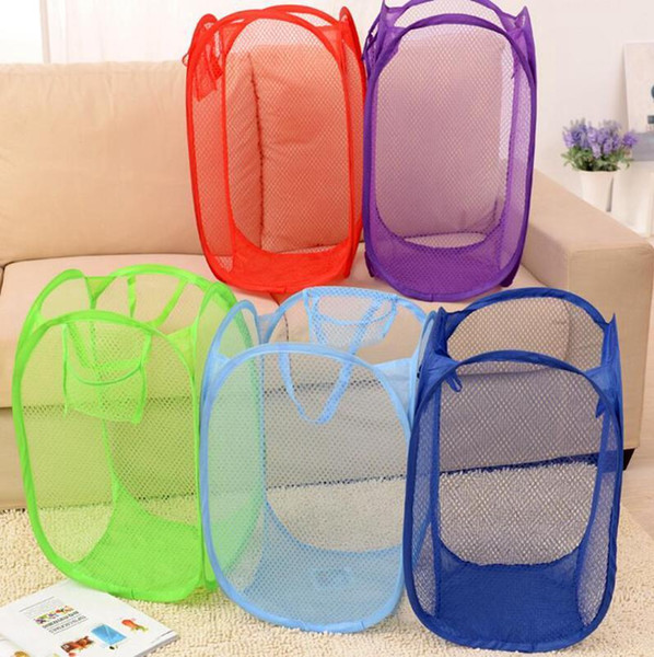 Foldable Clothes Storage Baskets New Mesh Fabric Foldable Pop Up Dirty Clothes Washing Laundry Basket Bag Bin Hamper Storage DLH262