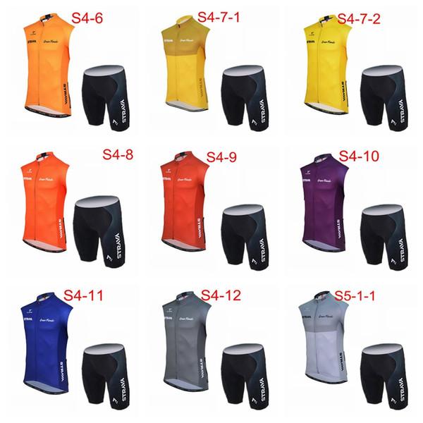 STRAVA takım bisiklet forması Kolsuz Yelek şort setleri yaz erkek döngüsü giyim Ropa Ciclismo Bisiklet spor giyim Y61214