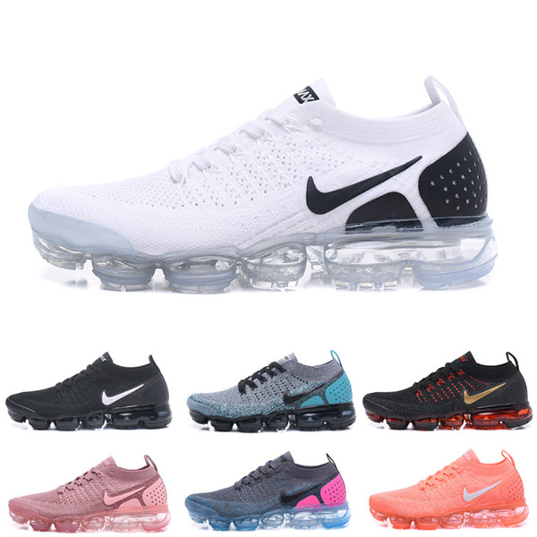 top popular 2019 Vapors 2018 2.0 Rainbow Air Designers BE TRUE Woman Shocks Black White Fly Knitting Sports Sneakers Max 2 Men Trainers Running Shoes 2020