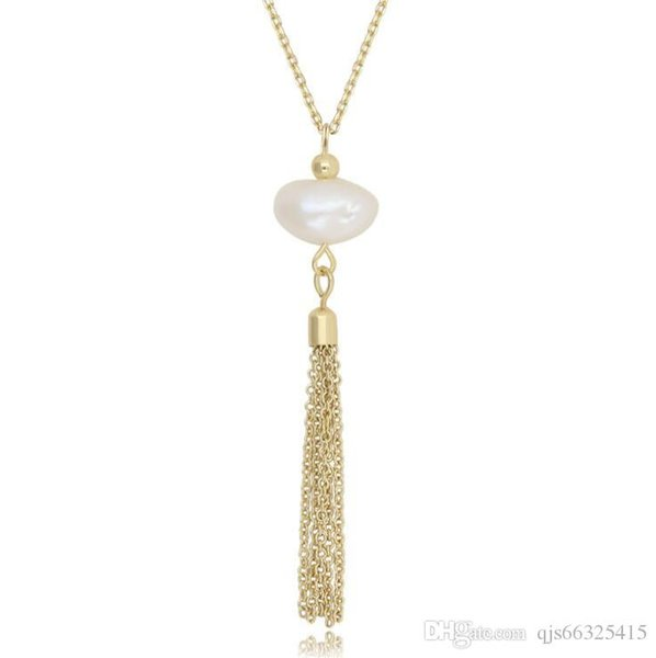 Baroque freshwater pearl pendant long tassel pendant necklace 14k gold-plated necklace jewelry sweater necklace