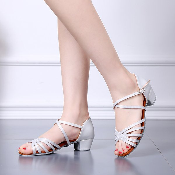 Scarpe da ballo da bambino latino Tango da interno Scarpe da ballo Scarpe da ragazza di colore bianco Scarpe tacco alto 3,5 cm e 4,5 cm