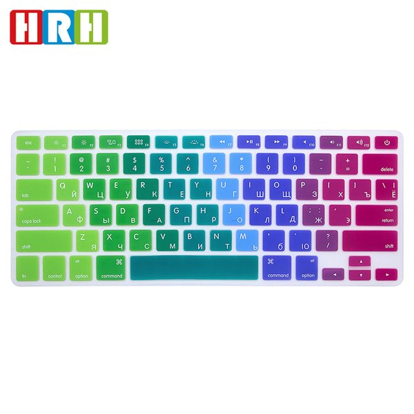 HRH Waterproof Rainbow Russian Silicone USA Keyboard Cover Skin Sticker Protective Film For MacBook Pro Air 13 15 17 With Retina