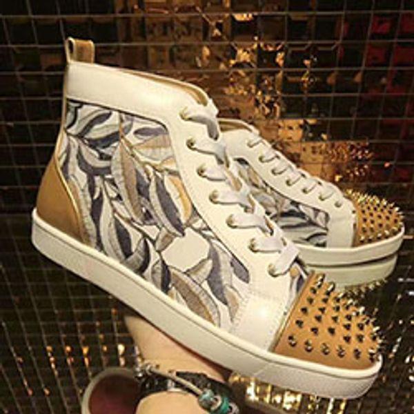 ACE Red Bottom Luxury Designer Marque clouté Spikes Flats chaussures casual chaussures pour hommes et femmes Party Lovers Véritable Sneakers en cuir 100616