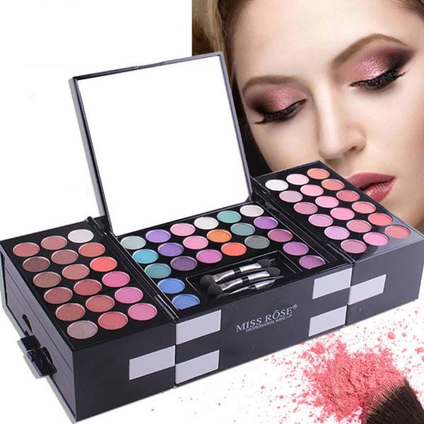 MISS ROSE Makeup Kit Cosmetics Eye Shadow Box Palette Matte Glitter Shimmer Eyeshadow Blush Eyebrow Powder With Mirror 142 Color