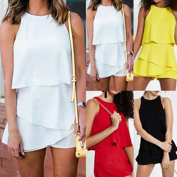 4 Colour S-XL Women's Ladies Summer Holiday Bikini Mini Playsuit Romper Beach Jumpsuit Dress