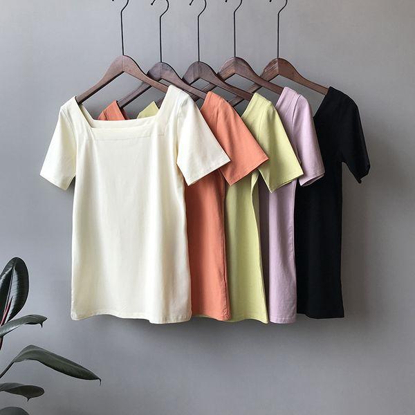 Cuello cuadrado Mujer Camiseta en blanco Manga corta Naranja Verde Negro Verano Camiseta Tops