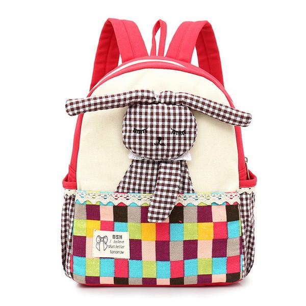 Chlidren Canvas Shcool Bag Cartoon Rabbit Pattern Backpacks Cute Large Student Bags Designer High Quality Shoulder Backpacks