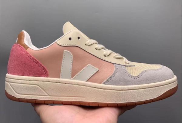 Nuova Francia 8VEJA di alta qualità di pelle casual Coppie scarpa che respira scarpe stivali Zapatillas Uomini Donne Trainer scarpe sportive 36-45 Esecuzione