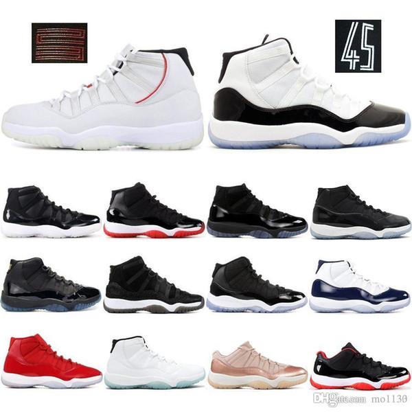 Concord 45 11 11s Chaussures de basket pour homme Teinte platine CAP ET ROBE ROSE GOLD GAMMA BLEU hommes femmes baskets de sport
