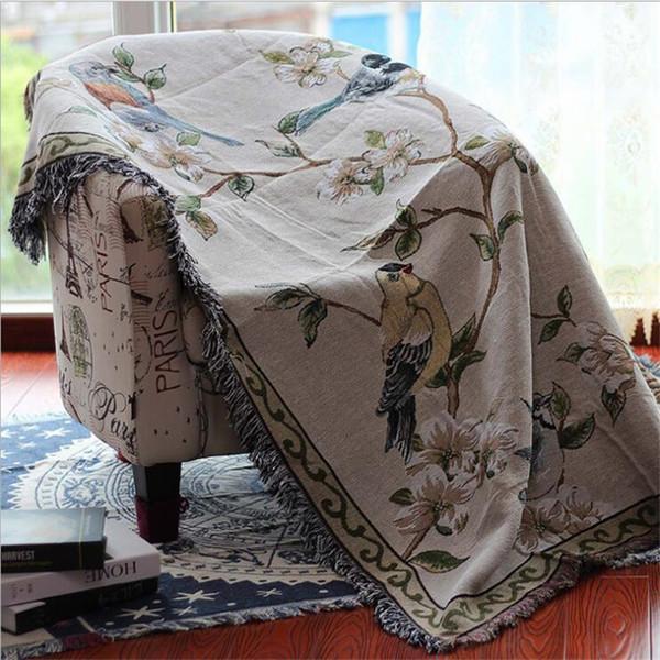 Couverture de serviette en coton pour Couch Sofa décoratif Plaid rectangulaire Housse Lancers Boho Voyage Avion Brochage Couverture santé