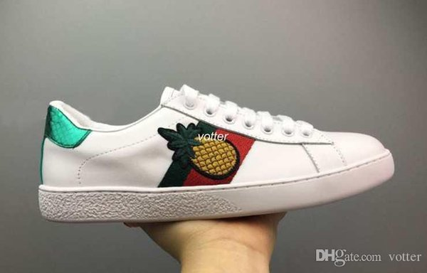 Mens designer luxury shoes Casual Shoes white women sneakers good embroidery bee cock tiger dog fruit on the side with OG box 5dsa