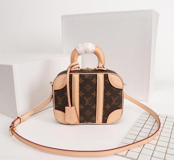 Envío gratis! Bonito bolso de cubo Bolsos de diseño Bolsos de alta calidad Bolsos de hombro de cuero de marca de moda Bolsos de hombro M44582 20x16x7 cm