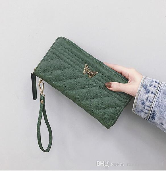 Factory wholesale brand women handbag fashion Lingge women multi-function wallet cute butterfly lock long wallet multi-card leather zipper c