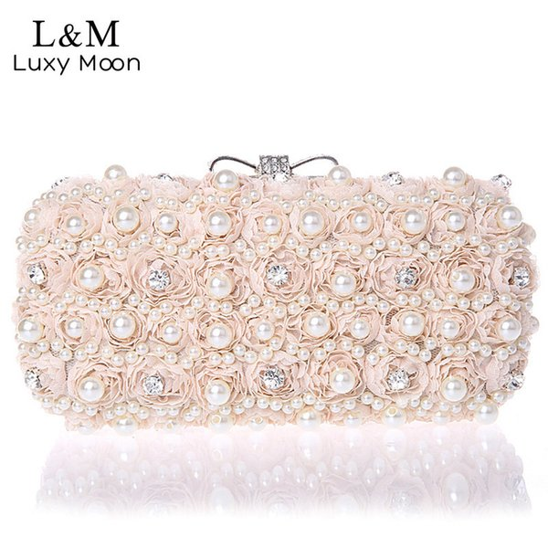 White Flowers Evening Hand Bag Noble Ladies Pearl Wedding Party Dressed Clutch Bagsrhinestone Bow Mini Purse Bolsos Mujer Xa40h Y19062105