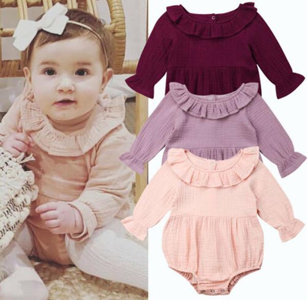 Focusnorm nueva moda niño recién nacido bebé niña mameluco manga larga mono mameluco algodón sólido traje de sol