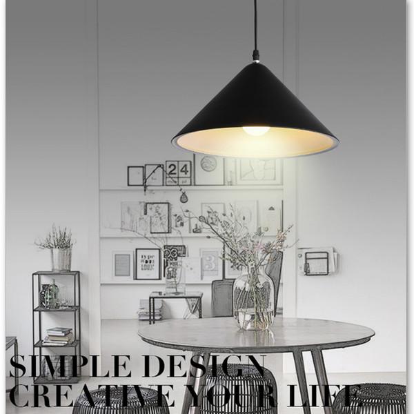 Modern Nordic Design Black White Led Luz Pingente Pendurado Lâmpada Do Teto para Decoração Loft Sala de Jantar Cozinha Restaurante Bar T Mall