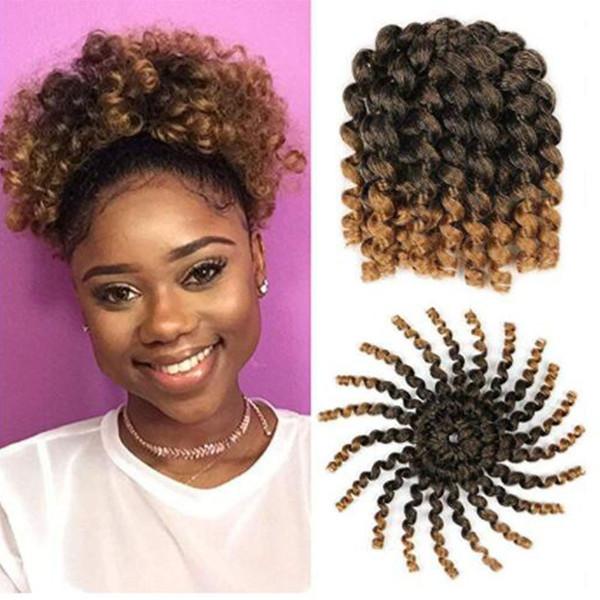3 Packs Short Wand Curl Spiral Bouncy Jumpy Crochet Hair Afro Small Curls African Hair Extensions for Black Women (1B/27#, 3packs/Lot)