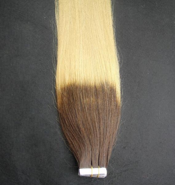 T4 / 60 Ombre Renk 100% İnsan Saç Dokuma 10-30 Inç Cilt Atkı Bandı Saç Uzantıları 6a Işlenmemiş Bakire Saç Uzantıları