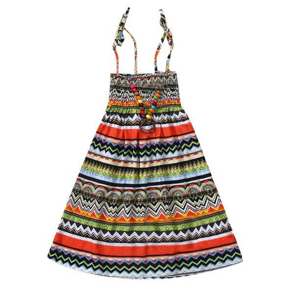 Girls Summer Dress Cotton Vestidos Floral Bohemian Straps Casual Princess Party Dresses Children Costume for Kids Clothes k0313