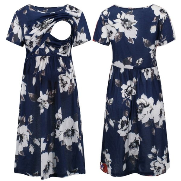 Maternity Cotton Dresses Women Summer Short Sleeve Floral Print Nursing Breastfeeding Dress Photography Props Clothes For Mother