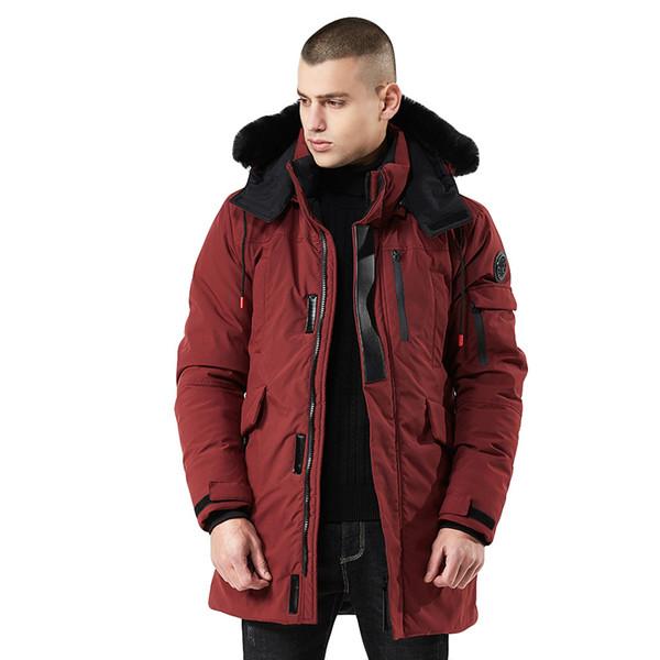Mens Hiver Moyenne Longueur Zippée À Capuche Épaissie Coupe-Vent En Coton Outwear Manteau Manteau Homme Hiver Doudoune