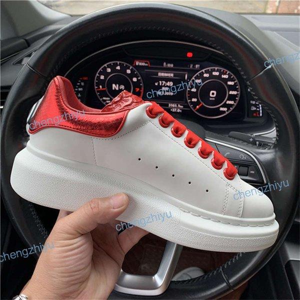 2019 Designer De Luxo Vermelho Preto Branco Plataforma Clássico Sapatos Casuais Sapatos de Couro Ocasional Vestido de Lona Mens Das Mulheres Tênis Esportivos tamanho 35-46