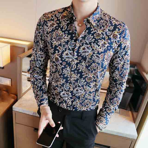 Men Shirt Fancy Shirts Club Outfits Luxury Mens Floral Shirts Royal Fashion Long Sleeve Masculina Shirt Men