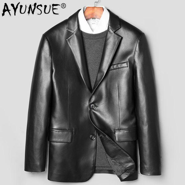 AYUNSUE Mens Leather Jacket Real Sheepskin Coat Blazer Genuine Leather Jackets for Men 2019 Chaqueta Cuero Hombre 71H936 KJ2447