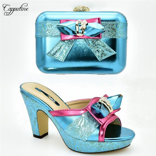Festa graciosa conjunto combinando slip-on sapatos de salto alto e conjunto de bolsa de embreagem para senhora 636-2 em azul, altura do salto 11cm