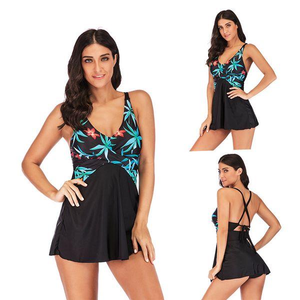 40f6269a940c7 Floral Print Swim Dress Swimsuits Back Bandage Lace Swimwear Summer Beach Wear  Bathing Suit Swimdress Women