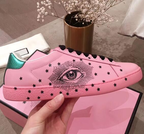 Chegada Nova Mulheres Moda Casual sapatos de luxo Designer sapatilhas cor fluorescente de couro genuíno Olhos bonitos sapato bordado 770