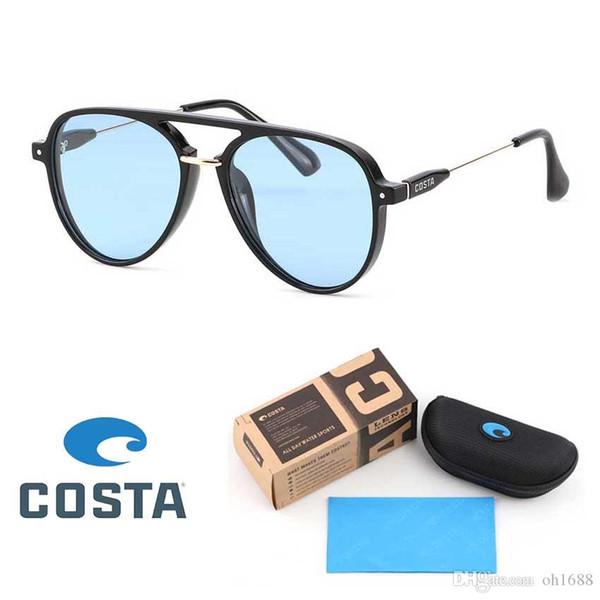 COSTA Moda Polarize Güneş Gözlüğü Marka Tasarımcı Çift Kirişler Shades Pilot Güneş Gözlüğü Perakende Kutusu ile TAC Lens Şeker Renk Gözlüğü Occulos