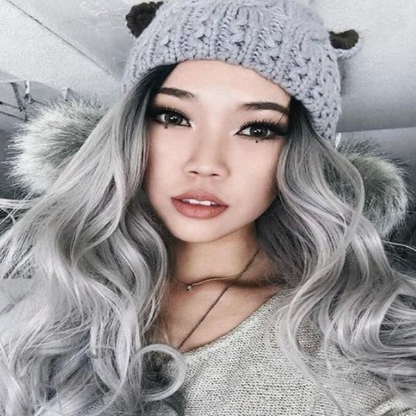 Raw new best dark root unprocessed remy virgin human hair grey long big curly full lace top wig for women