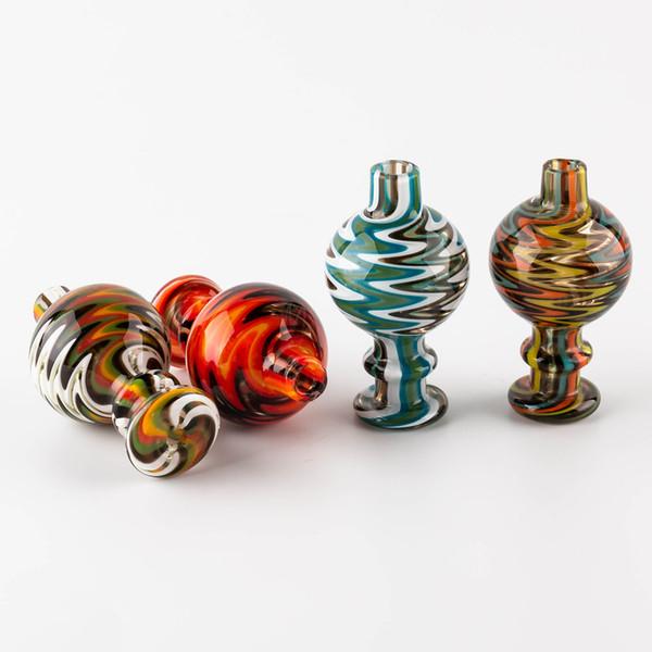 top popular Volcanee Glass Bubble Carb Cap, UV carb cap, Cyclone Spinning carb caps for 25mm Flat Top quartz banger Nails terp pearl bong 2019