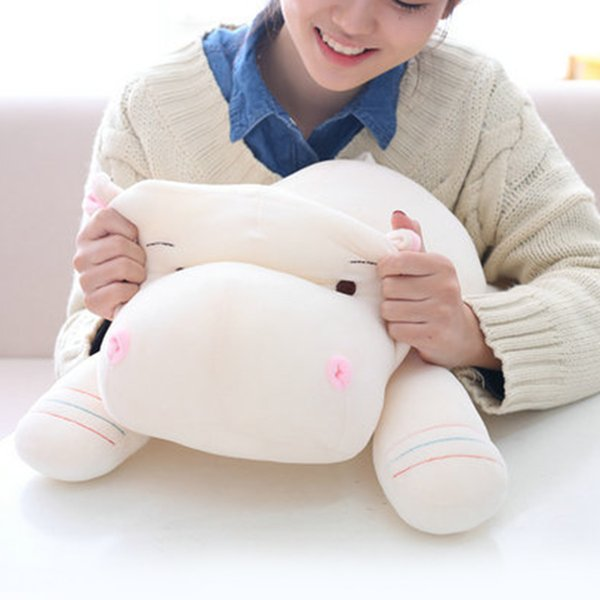 Cuscino regalo Simpatici giocattoli per bambini Divano imbottito in piumino di cotone Forma di ippopotamo Cartoon Cuscino di compleanno Bambola di peluche Morbida