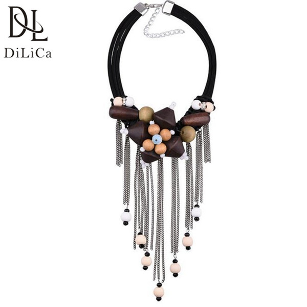 wholesale Vintage Wooden Necklace Women Charms Choker Necklaces Pendants Female Boho Maxi Necklace Jewelry Tijdens ketting
