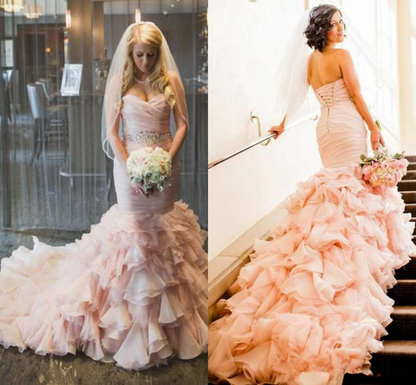 Vintage Blush Pink Mermaid Wedding Dresses 2019 Retro Sweetheart Beaded Belt Lace-up Corset Ruffles Train Country Garden Wedding Gown