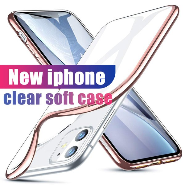 top popular For Iphone 12 11 Pro Max Case XR XS MAX se S10 s20 Case Ultra-Thin Shock Resistant Metal Electroplating Soft Gel TPU Case Cover Transparen 2020