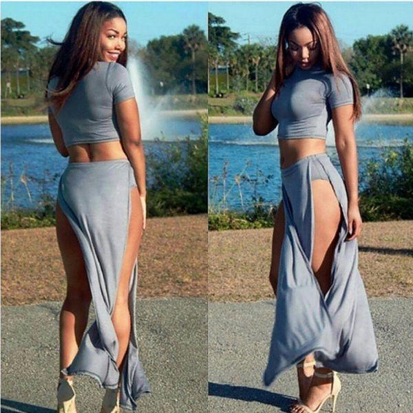 Hot sale gray two-piece suit sexy split long skirt nightclub dress