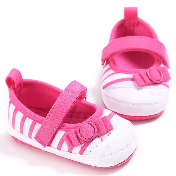 3colors Baby-Kleinkind-Schuh-Säuglingskleinkind-Streifen Nettes Kind Mädchen Baby Krippe Schuhe Prewalker 3-11Months
