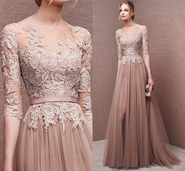 Design personalizado! Champanhe Lace Long Prom Dresses 2019 mangas Sexy andar de comprimento a linha Net / Tulle vestido de noite vestidos de festa vestidos uni_16