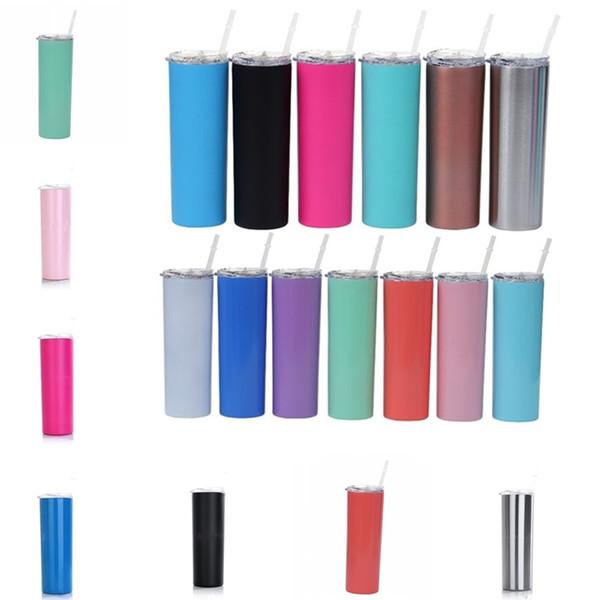Neue 20oz Edelstahl Tassen Skinny Tumbler Vakuumisolierte Straight Cup Bier Kaffeetasse Gläser mit Deckel und Strohhalme 4884